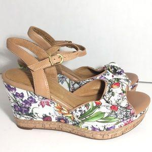 Clarks Leather Floral Slingback Cork Wedge Sandals